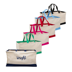 Front view of our Monogrammed Canvas Collapsible Tote Bags