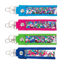 Monogrammed view of our Confetti Key Fob Keychains