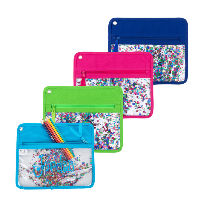 Our Monogrammed Confetti Pen Pouches