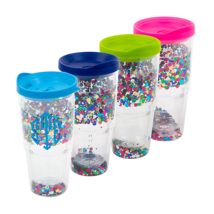 Our Monogrammed Confetti Tumblers with Lid