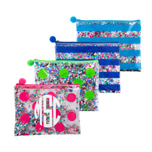 Load image into Gallery viewer, Our Monogrammed Confetti Flat Zipper Pouches
