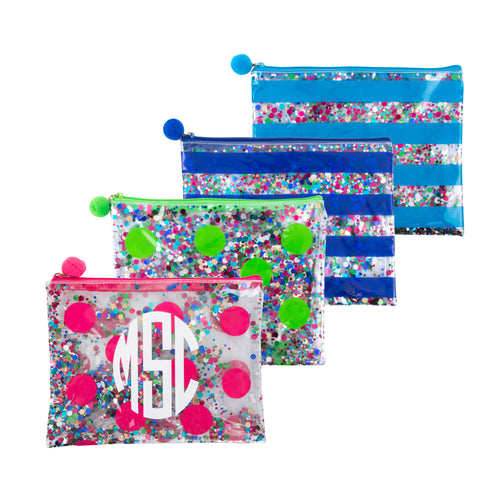 Our Monogrammed Confetti Flat Zipper Pouches