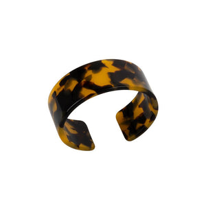 "Medium (1"") thick Tortoise Cuff Bracelet in black and brown"