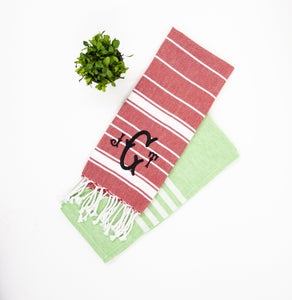 Holiday Dish towels monogrammed