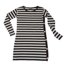 Front view of our Black and Gray Stripe Long Sleeve Button Dress