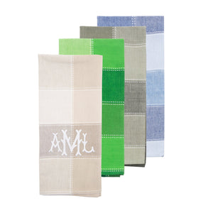 Monogrammed view of our Checker Dish Towel