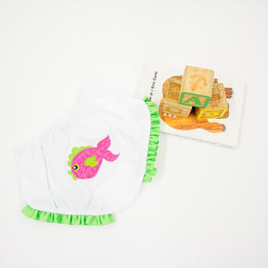 Lifestyle view of our Pink Fish Diaper Cover