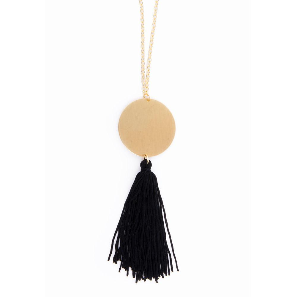 Disc Tassel Necklace in black and gold