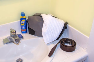 Dopp kit filled with men hygiene products