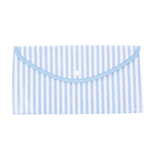 Front view of our Blue Stripe Vinyl Envelope Pouch