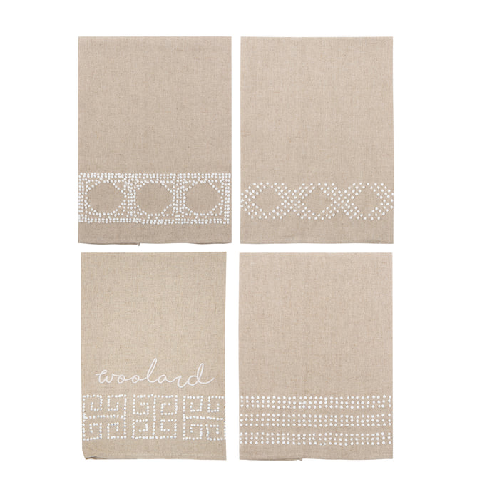 Our Knot Pattern Linen Guest Towels