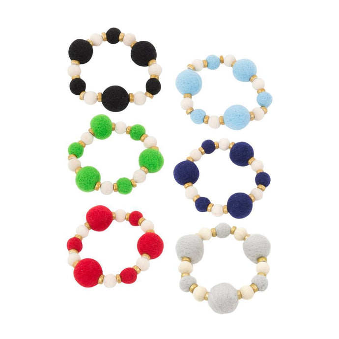 Front view of our Felt Bead Bracelets