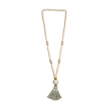 Load image into Gallery viewer, Front view of our Gray Fall Ceramic Bead Tassel Necklace
