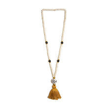 Load image into Gallery viewer, Front view of our Gold Fall Ceramic Bead Tassel Necklace