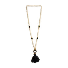 Load image into Gallery viewer, Front view of our Black Fall Ceramic Bead Tassel Necklace