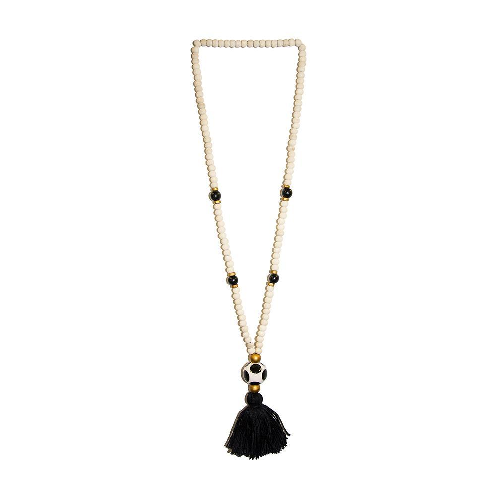 Front view of our Black Fall Ceramic Bead Tassel Necklace
