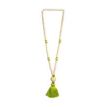 Load image into Gallery viewer, Front view of our Lime Fall Ceramic Bead Tassel Necklace