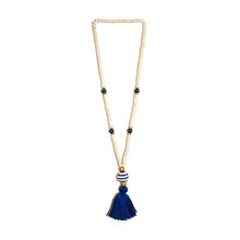 Load image into Gallery viewer, Front view of our Navy Fall Ceramic Bead Tassel Necklace