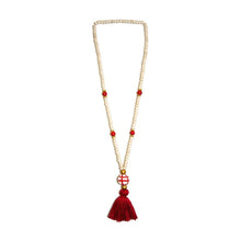 Load image into Gallery viewer, Front view of our Red Fall Ceramic Bead Tassel Necklace