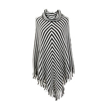 Front view of our Black Stripe Fringe Poncho