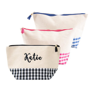 Monogrammed image of our Gingham Boarding Now Cosmetics