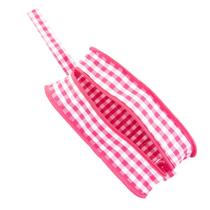 Top view of our Pink Gingham Kentucky Cosmetic Bag