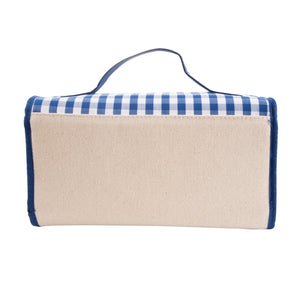 Back View of our Blue Gingham Roll Up Cosmetic Bag
