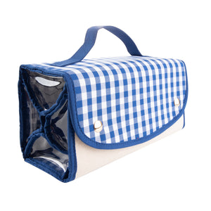 View of our Blue Gingham Roll Up Cosmetic Bag