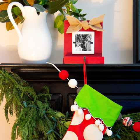 Lifestyle view of our Red Stocking Holder Frame