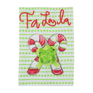 Front view of our Holiday Falala Candy Cane Guest Towel
