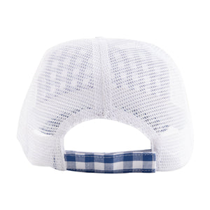 Back View of our Blue Gingham Trucker Hat