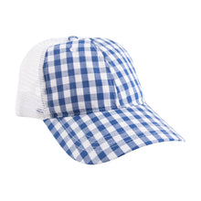 Load image into Gallery viewer, View of our Blue Gingham Trucker Hat