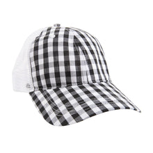 Load image into Gallery viewer, View of our Black Gingham Trucker Hat