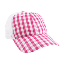 Load image into Gallery viewer, View of our Pink Gingham Trucker Hat