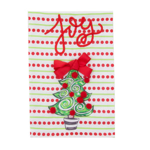 Front view of our Holiday Joy Bow Tree Guest Towel