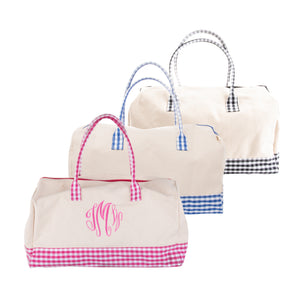 Front view of our Gingham Getaway Duffle Bags