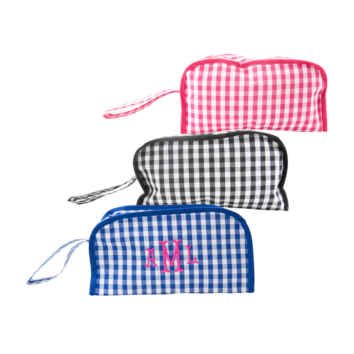 Front view of our Gingham Cosmetic Bags