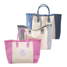 Load image into Gallery viewer, Weekender tote in pink, black and blue gingham