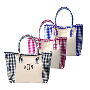 Our Monogrammed Gingham Ruffle Small Totes