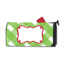 Load image into Gallery viewer, Front view of our Green Gingham Mailbox Cover