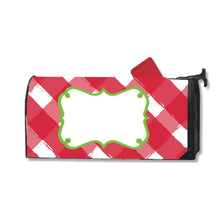 Load image into Gallery viewer, Front view of our Red Gingham Mailbox Cover