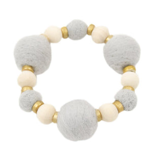 Front view of our Gray Felt Bead Bracelet