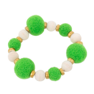 Front view of our Green Felt Bead Bracelet