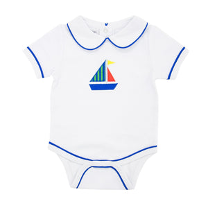 Front view of our Green Sailboat Boy Bubble Onesie