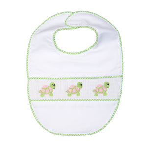 Our Green Turtle Smocked Baby Bib