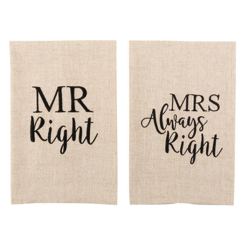 Mr. Right and Mrs. Always Right linen colored guest towels with Black hand letter saying
