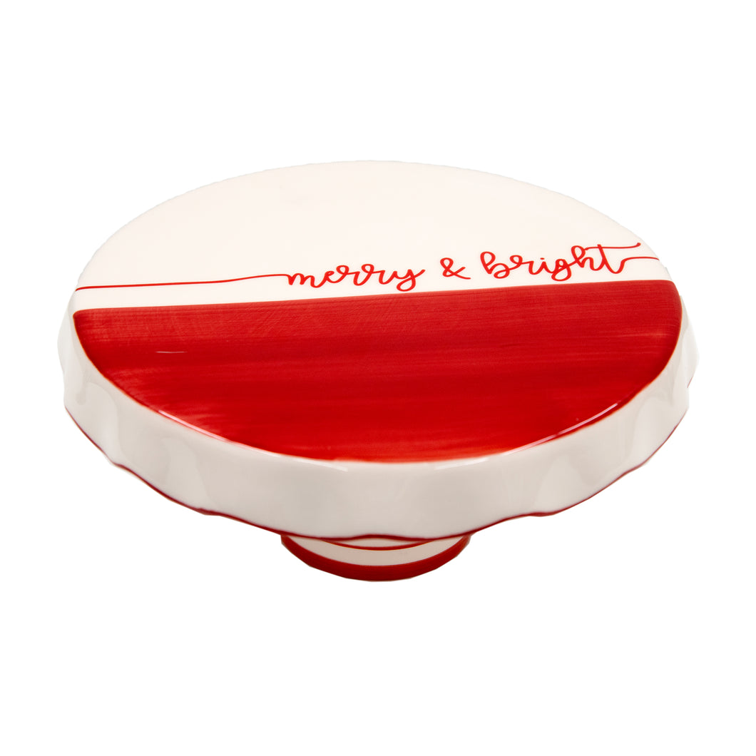 Holiday Ceramic Dipped Merry & Bright Chip & Dip Cake Platter