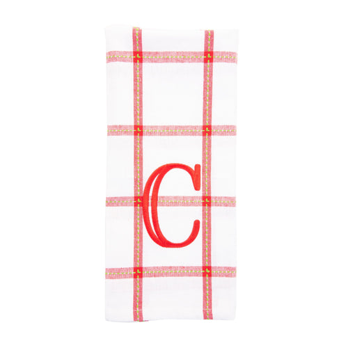 Monogrammed view of our Holiday Block Dish Towel