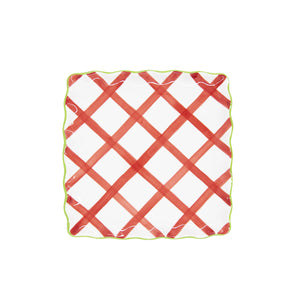 Ceramic Holiday Gingham Dinner Plate Set of 4
