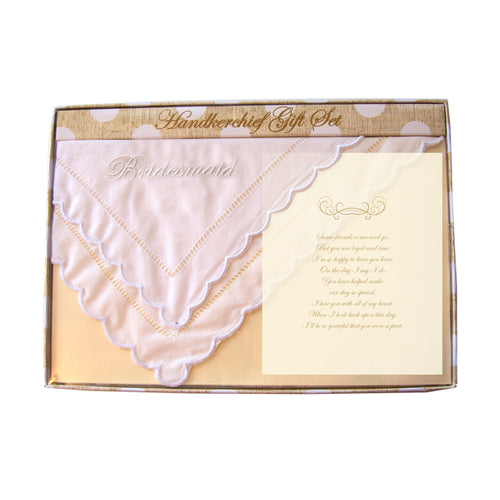 Front view of our Bridesmaid Handkerchief Gift Set